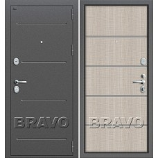 Т2-204 Антик Серебро/Cappuccino Crosscut (Dveri Bravo) Браво